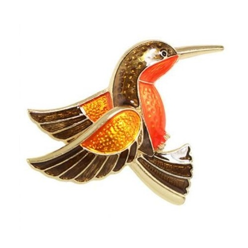 Brooch Flying Bird - Black/Orange