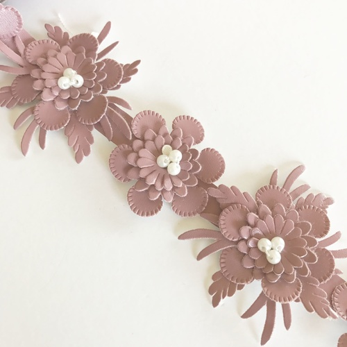 Faux Leather Flower Trim (50cm) - Rose Pink